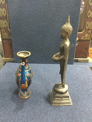Lot 728 - AN EASTERN BRONZE FIGURE OF A STANDING BUDDHA AND A WINE POT