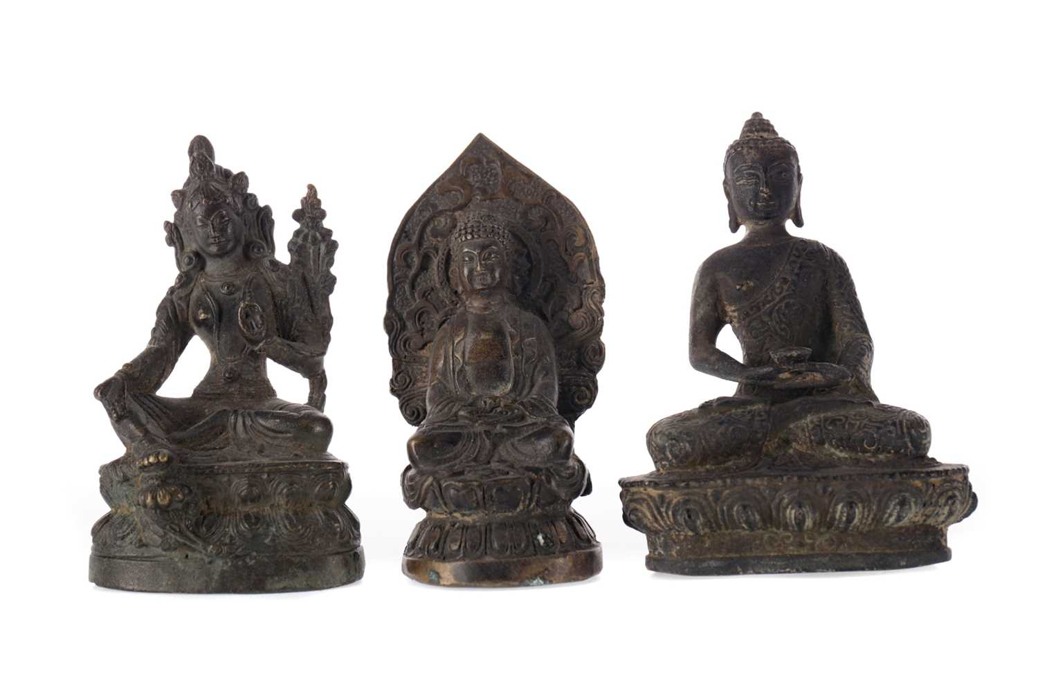 Lot 738 - A LOT OF THREE EASTERN BRONZED FIGURES