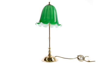 Lot 1676 - A BRASS TABLE LAMP WITH GREEN SHADE