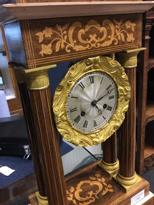 Lot 1705 - A LATE 19TH CENTURY FRENCH MARQUETRY MANTEL CLOCK