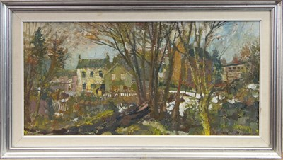 Lot 113 - WINTER MORNING, KILBARCHAN, AN OIL BY WILLIAM BIRNIE