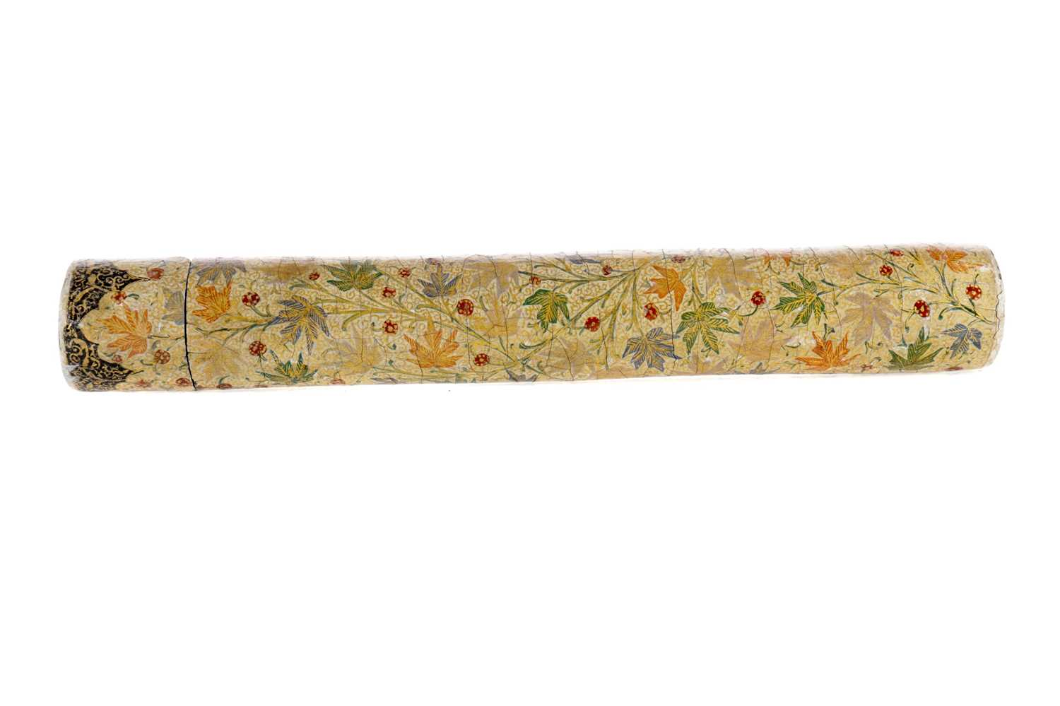 Lot 756 - AN EASTERN PAINTED METAL SCROLL HOLDER
