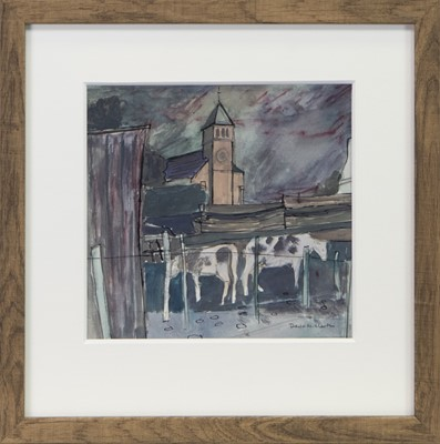 Lot 24 - COWS AT EAGLESHAM, A MIXED MEDIA BY DAVID MCLEOD MARTIN