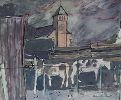 Lot 24 - COWS AT EAGLESHAM, A MIXED MEDIA BY DAVID MCLEOD MARTIN