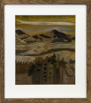 Lot 66 - AUTUMN LANDSCAPE, A MIXED MEDIA BY DAVID MCLEOD MARTIN