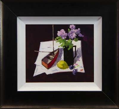 Lot 73 - STILL LIFE WITH A BOAT, AN OIL BY JAMES ORR