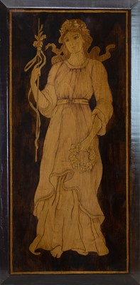 Lot 17 - PEACE, AN EARLY 20TH CENTURY INK & WOODSTAINED PANEL