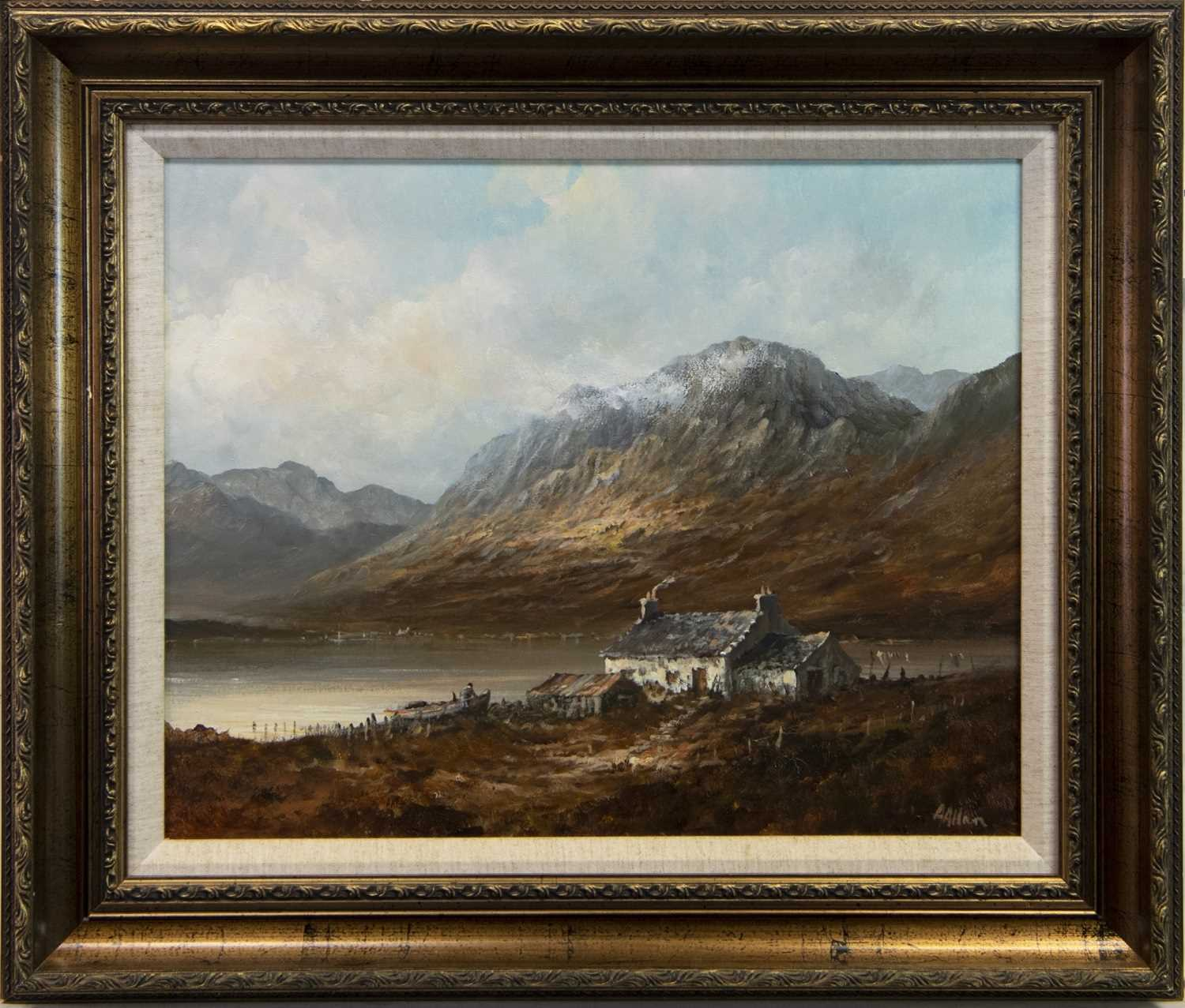 Lot 79 - COTTAGE IN A HIGHLAND LANDSCAPE, AN OIL BY ALFRED ALLAN