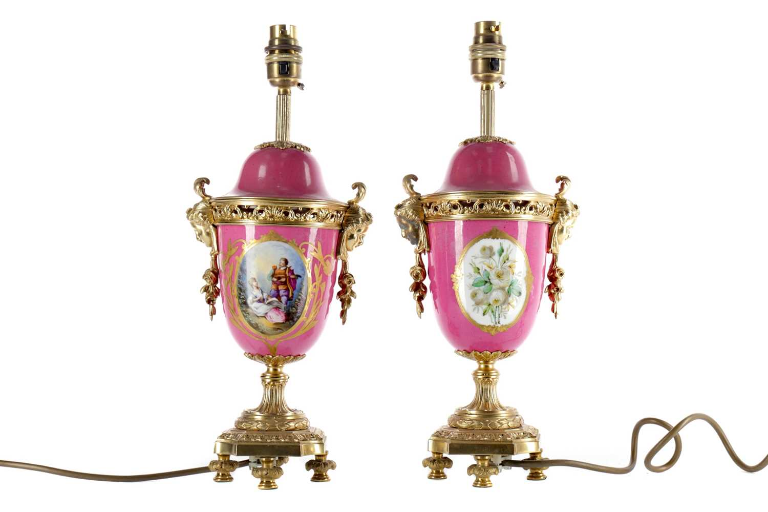 Lot 1001 - A PAIR OF LATE 19TH CENTURY CONTINENTAL ORMOLU MOUNTED TABLE LAMPS