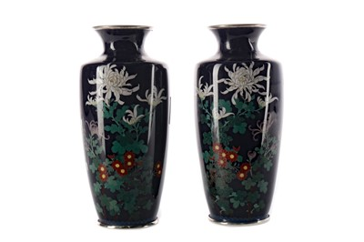 Lot 794 - A PAIR OF EARLY 20TH CENTURY JAPANESE CLOISONNE ENAMEL VASES
