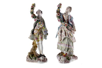Lot 1087 - A PAIR OF 19TH CENTURY CONTINENTAL FIGURES