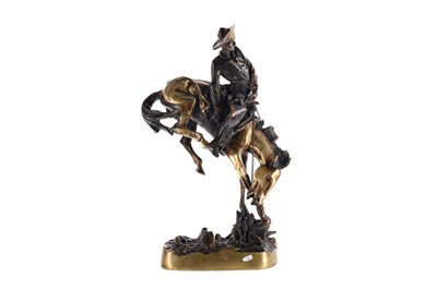Lot 1684 - AFTER FREDERIC REMINGTON, BRONZE SCULPTURE OF 'BUCKING BRONCO'