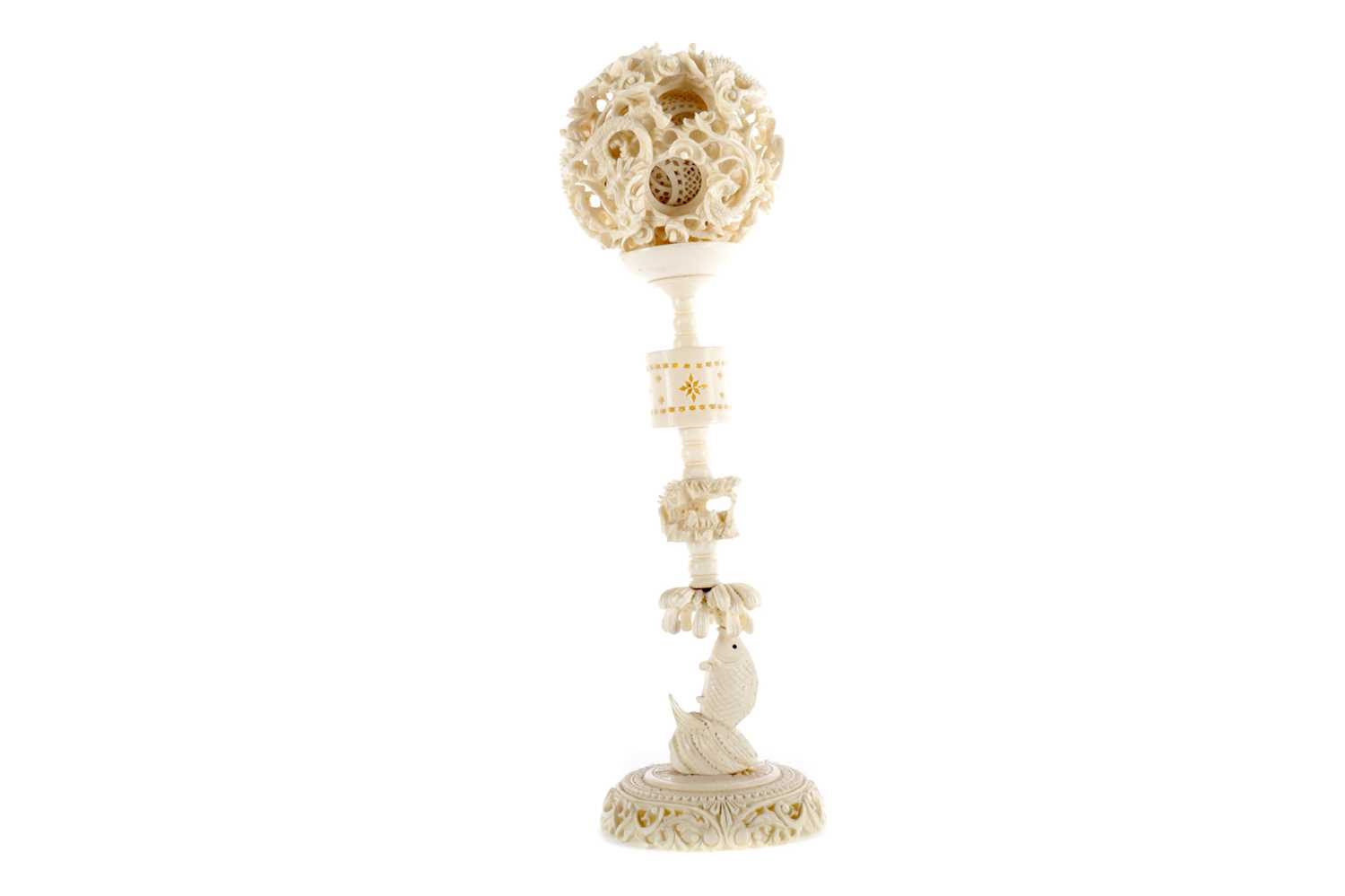 Lot 803 - AN EARLY 20TH CENTURY CHINESE IVORY CONCENTRIC BALL ON STAND