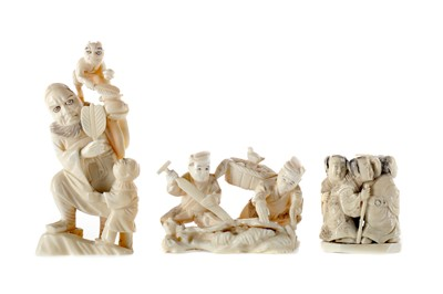 Lot 812 - A LOT OF THREE EARLY 20TH CENTURY JAPANESE IVORY GROUPS