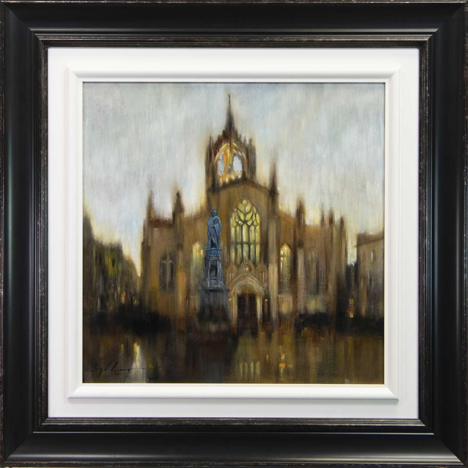Lot 118 - ST GILES CATHEDRAL, AN OIL BY SIMON WRIGHT