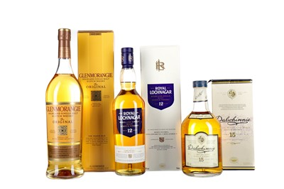 Lot 18 - GLENMORANGIE 10 YEARS OLD, ROYAL LOCHNAGAR 12 YEARS OLD AND DALWHINNIE AGED 15 YEARS