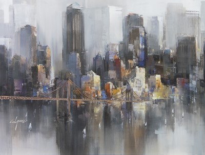 Lot 184 - NEW YORK CROSSING, A GICLEE BY WILFRED LANG