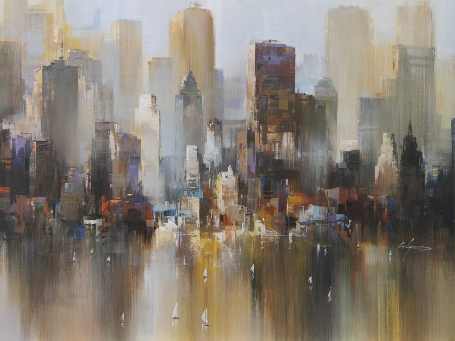 Lot 131 - IN THE HARBOUR, A GICLEE BY WILFRED LANG