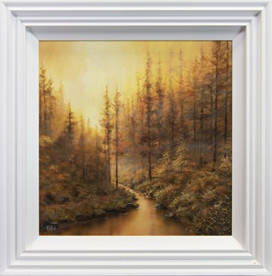Lot 161 - BLAZING SUNSET, AN OIL BY R DUFFIELD