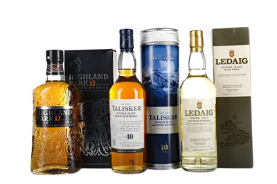 Lot 21 - HIGHLAND PARK 12 YEARS OLD, TALISKER AGED 10 YEARS AND LEDAIG