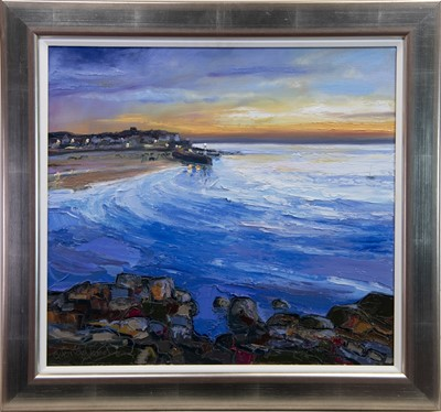 Lot 68 - CALM SEA AND SUNSET, ST IVES, AN OIL BY JUDITH BRIDGLAND