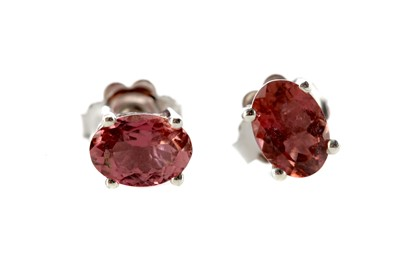 Lot 1387 - A PAIR OF PINK TOURMALINE STUD EARRINGS