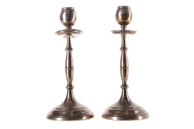 Lot 540 - A PAIR OF SILVER CANDLESTICKS
