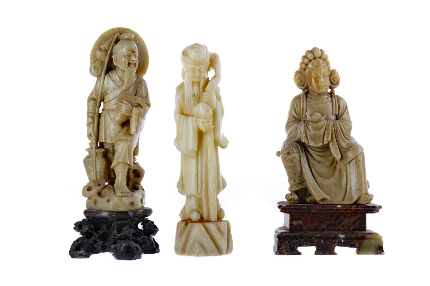 Lot 716 - A LOT OF THREE CHINESE SOAPSTONE FIGURES