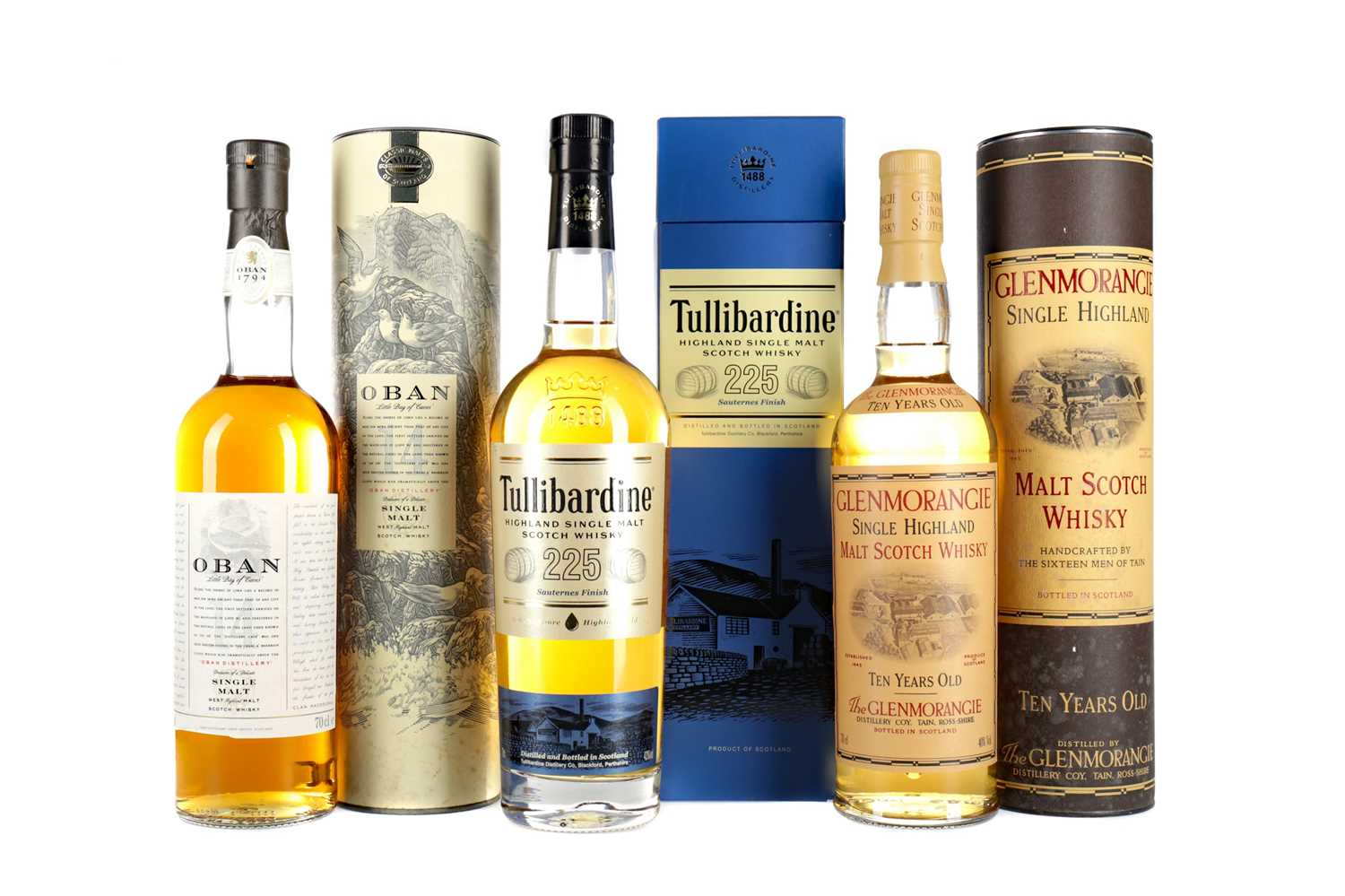 Lot 59 - TULLIBARDINE 225 SAUTERNES FINISH, OBAN AGED 14 YEARS, AND GLENMORANGIE 10 YEARS OLD