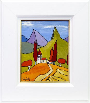 Lot 165 - THE CHURCH ON A HILL, AN OIL BY IAIN CARBY
