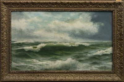 Lot 401 - BREAKING WAVES, AN OIL BY LINDON PARTRIDGE
