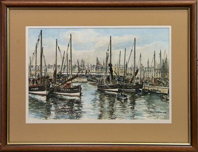 Lot 402 - PETERHEAD HARBOUR, A WATERCOLOUR BY JOHN CORRIE