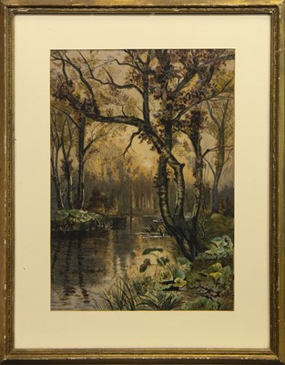 Lot 404 - STREAM THROUGH WOODLANDS, A WATERCOLOUR BY L J WILKIE
