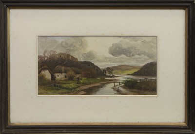 Lot 407 - RIVERSIDE GARDENING, A WATERCOLOUR BY ERNEST HASLEHURST