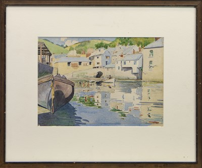 Lot 408 - PORTOFINO HARBOUR, A WATERCOLOUR BY ENID CHIDLAM ROBERTS