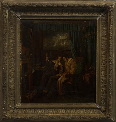 Lot 409 - INTERIOR SCENE, AN OIL FROM THE CIRCLE OF DAVID WILKIE