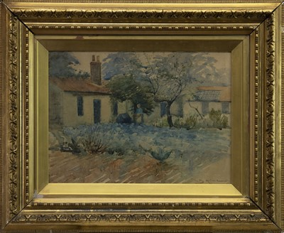 Lot 411 - CORT-AN-RIGH HOUSE, ABBEYHILL, EDINBURGH, A WATERCOLOUR BY WALTER MELROSE