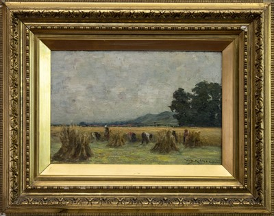 Lot 412 - HARVEST SCENE, AN OIL BY WALTER MELROSE