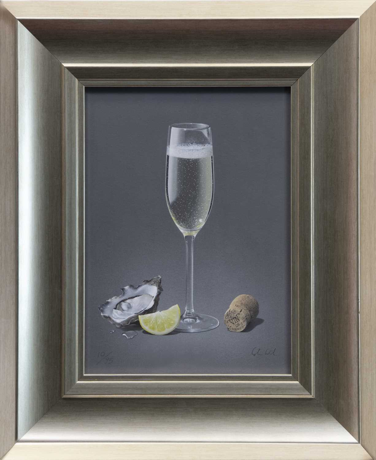 Lot 121 - CHAMPAGNE & OYSTER, A GICLEE PRINT BY COLIN WILSON