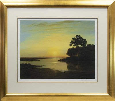 Lot 36 - DEVON COAST AT SUNRISE, A LIMITED EDITION PRINT BY GERALD COULSON