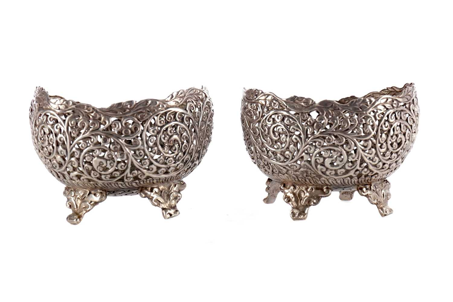 Lot 836 - A PAIR OF INDIAN SILVER OVAL BOWLS