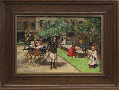 Lot 66 - AT THE PARK, AN OIL BY J WILLIAMSON