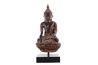 Lot 840 - AN EASTERN PAINTED STONEWARE BUDDHA
