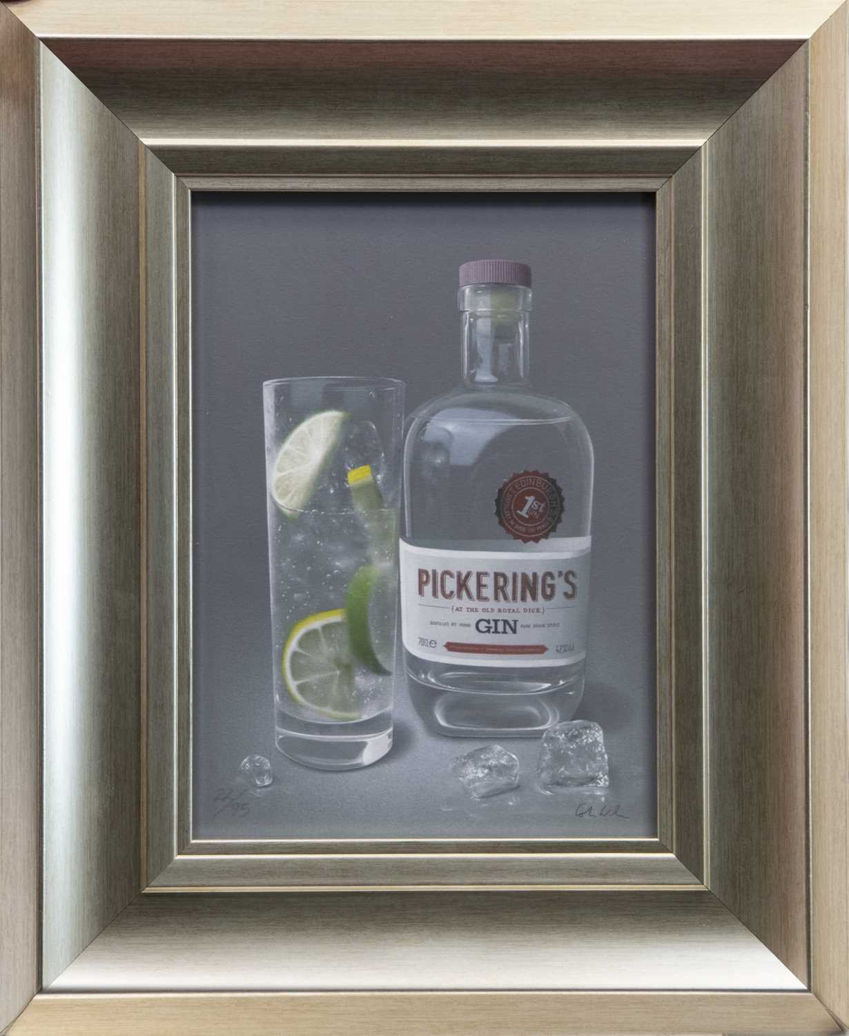 Lot 66 - PICKERING'S GIN, A GICLEE PRINT BY COLIN WILSON