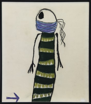 Lot 200 - SKELETON WITH A STRIPEY DRESS, A PASTEL BY PAT DOUTHWAITE