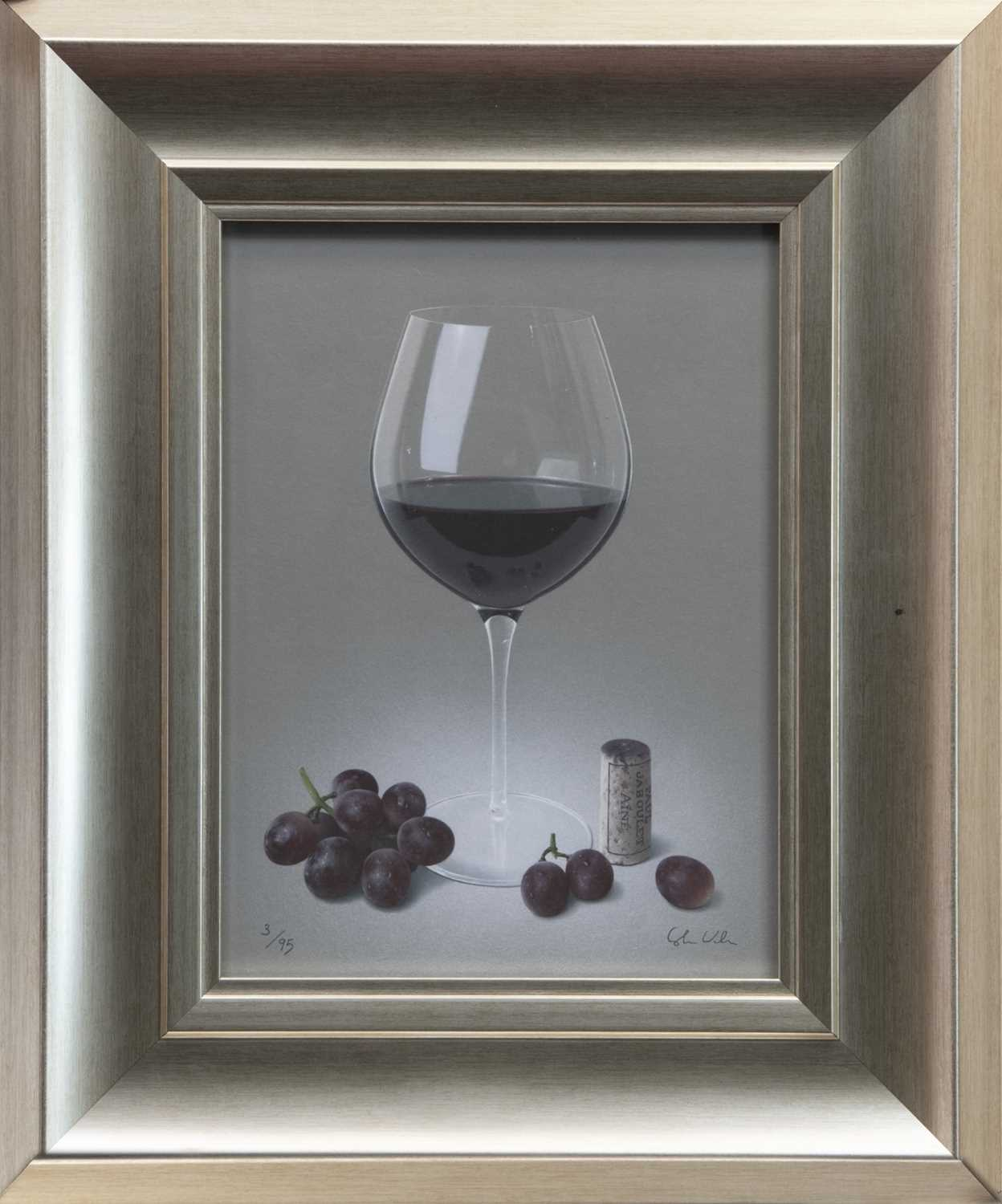 Lot 142 - RED WINE & GRAPES, A GICLEE PRINT BY COLIN WILSON