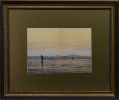Lot 418 - SUNSET, A WATERCOLOUR BY P MACGREGOR WILSON