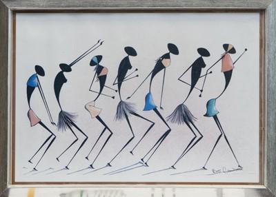 Lot 96 - DANCING LINE, A PRINT BY BONIFACE MATTHEWS CHANDIYAMBA