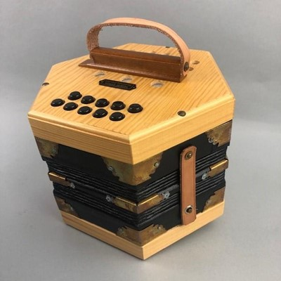 Lot 62 - A 21-BUTTON CONCERTINA