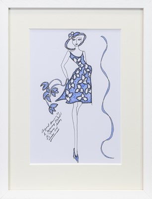Lot 216 - ORIGINAL ILLUSTRATION OF DESIGNS FOR LAURA ASHLEY, BY ROZ JENNINGS